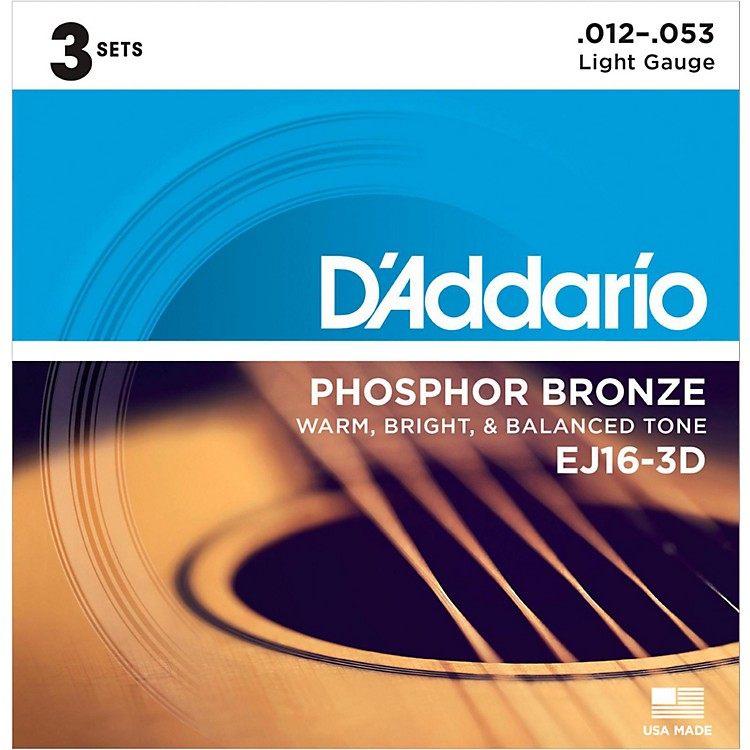 D'AddarioEJ16-3D Phosphor Bronze Light Acoustic Guitar Strings (3-Pack)