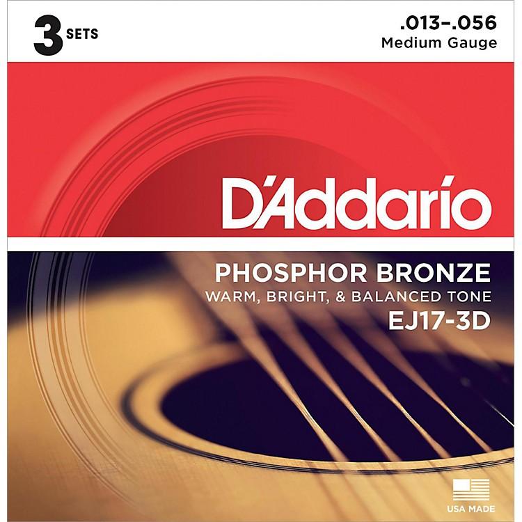 D'AddarioEJ17 Phosphor Bronze Medium Acoustic Strings (3-Pack)
