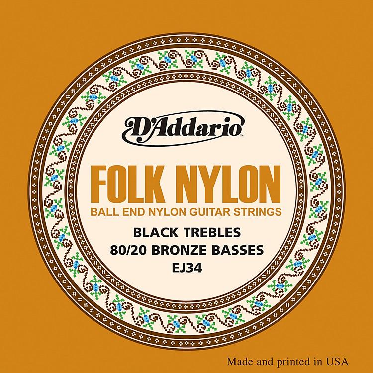 D'AddarioEJ34 Folk Nylon 80/20 Bronze/Ball End Black Treble Guitar Strings