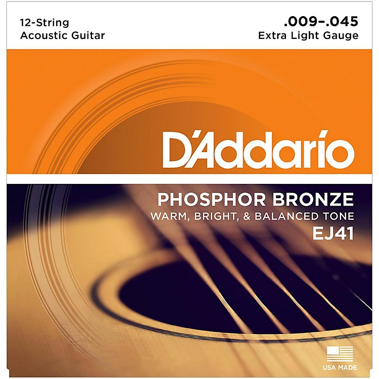 D'Addario EJ41 12-String Phosphor Bronze Extra Light Acoustic Guitar Strings