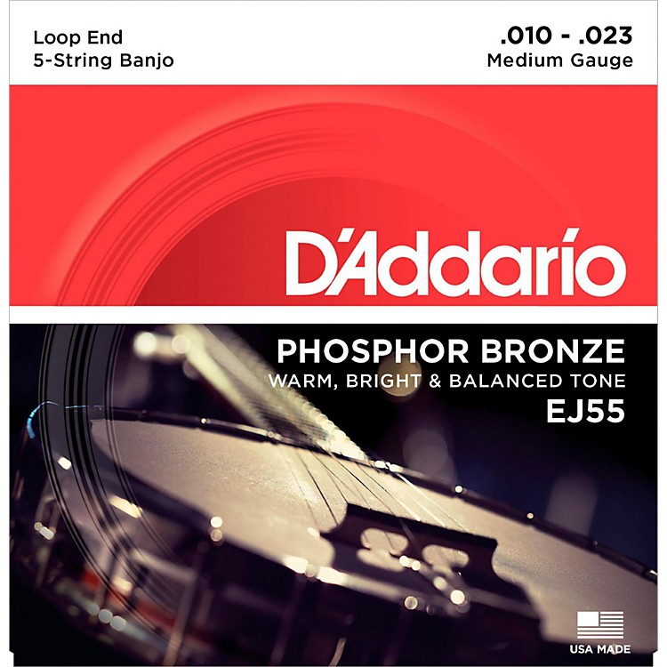 D'AddarioEJ55 Phosphor Bronze Medium 5-String Banjo Strings (10-23)