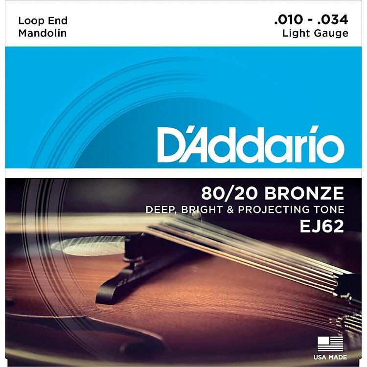 D'AddarioEJ62 80/20 Bronze Mandolin Strings, Light, 10-34