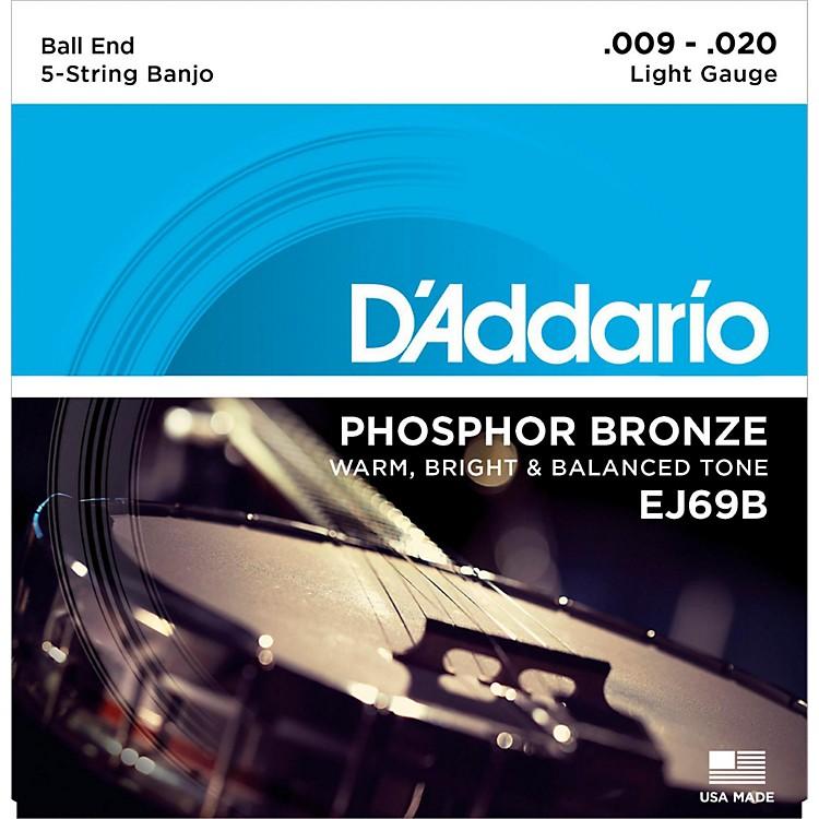 D'AddarioEJ69 Phosphor Bronze Light 5-String Ball-End Banjo Strings (9-20)