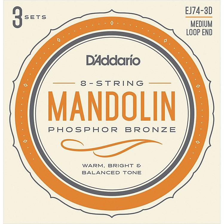 D'AddarioEJ74-3D Phosphor Bronze Medium Mandolin Strings, 11-40 (3 Pack)