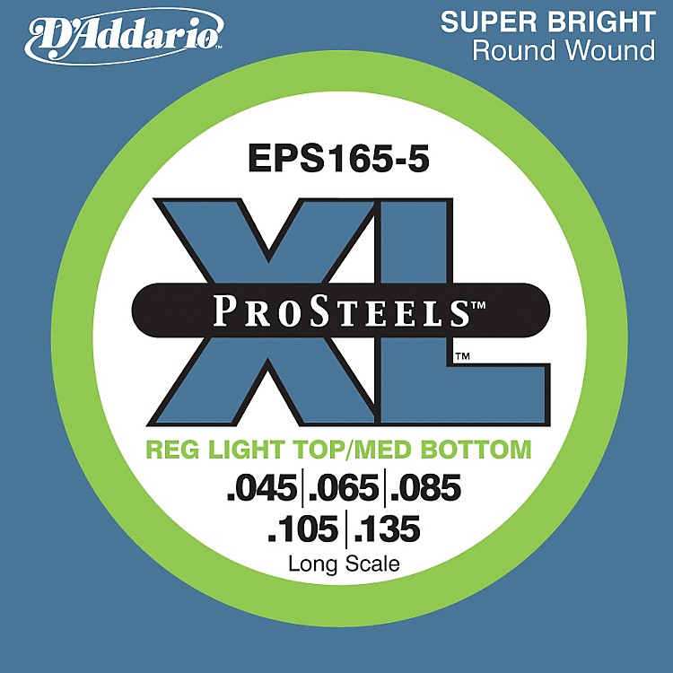D'Addario EPS165-5 Pro Steels Light Top/Medium Bottom Long Scale 5-String Bass Strings