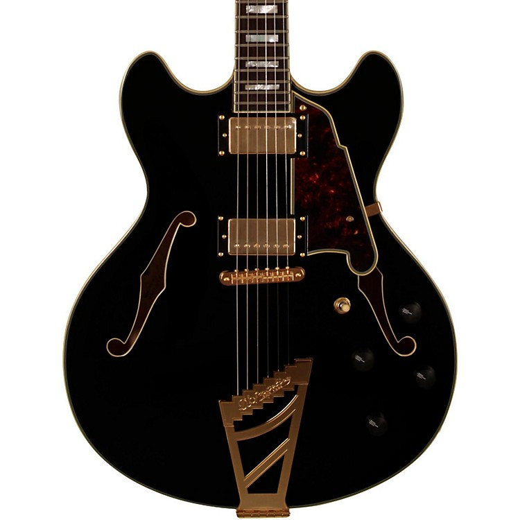 D'Angelico EX-DC Semi-Hollowbody Electric Guitar Black Tortoise Pickguard