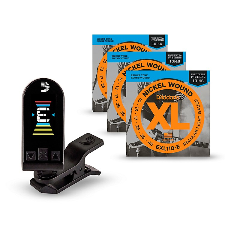 D'Addario EXL110-E Bonus 3-Pack: Light Nickel Wound Electric Guitar Strings with Bonus High E String and Equinox Tuner