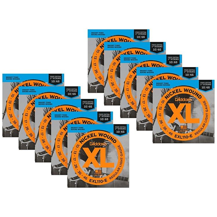 D'AddarioEXL110-E Bonus Pack: Light Electric Guitar Strings 10 Packwith 10 Bonus High E Strings (10-46)
