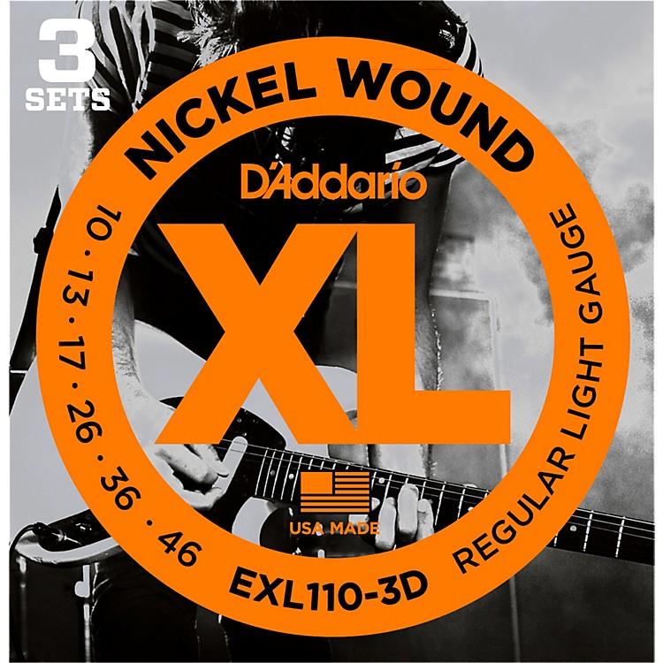 D'AddarioEXL110 Nickel Light Electric Guitar Strings 3-Pack