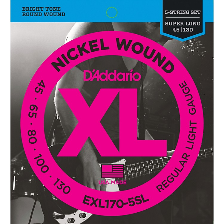 D'AddarioEXL170-5SL Regular Light Nickel Wound Super Long Scale 5-String Bass Strings