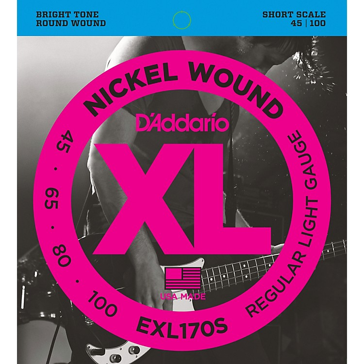 D'Addario EXL170S Light Nickel Wound Short Electric Bass Strings