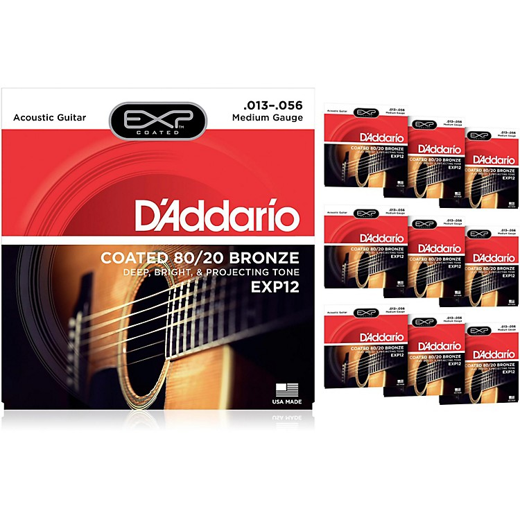 D'Addario EXP12 Coated 80/20 Bronze Medium Acoustic Guitar Strings - 10 Pack