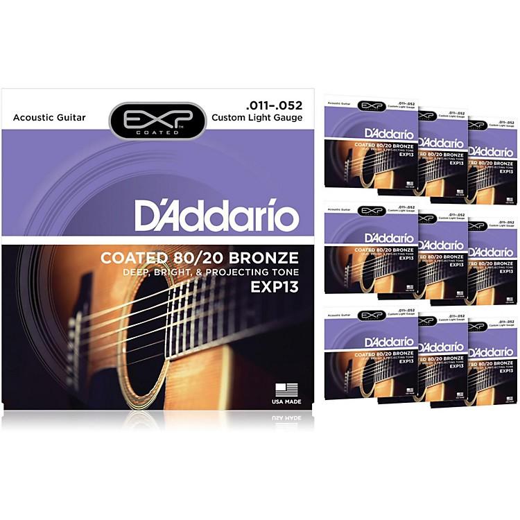 D'AddarioEXP13 Coated 80/20 Bronze Custom Light Acoustic Guitar Strings - 10 Pack