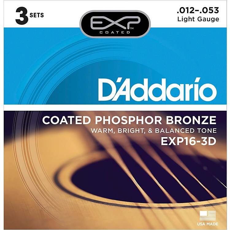 D'AddarioEXP16-3D Coated Phosphor Bronze Light Acoustic Guitar Strings 3-Pack