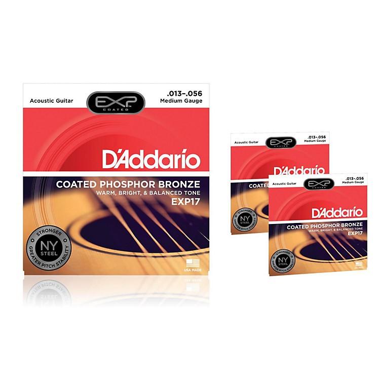 D'AddarioEXP17 Coated Phosphor Bronze Medium Acoustic Guitar Strings 3-Pack