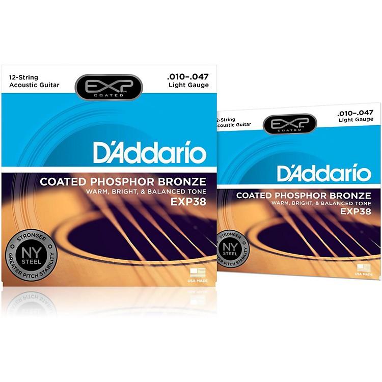 D'AddarioEXP38 12-String Coated Phosphor Bronze Light Acoustic Guitar Strings 2-Pack
