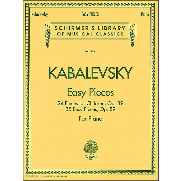 G. Schirmer Easy Pieces 24 And 35 Pieces for Children Op 39 Op 89 By Kabalevsky