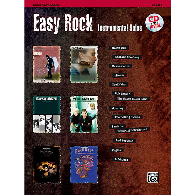 Alfred Easy Rock Instrumental Solos Level 1 Tenor Sax Book & CD