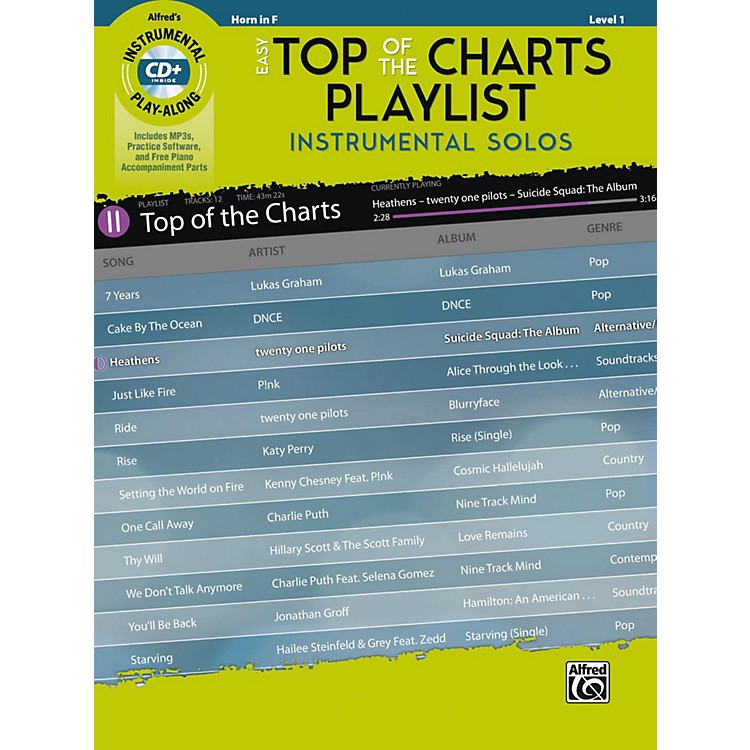 AlfredEasy Top of the Charts Playlist Instrumental Solos Horn in F Book & CD Level 1