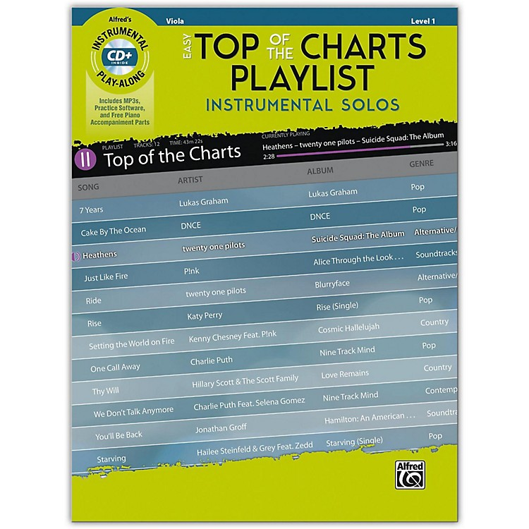 Alfred Easy Top of the Charts Playlist Instrumental Solos for Strings Viola Book & CD Level 1