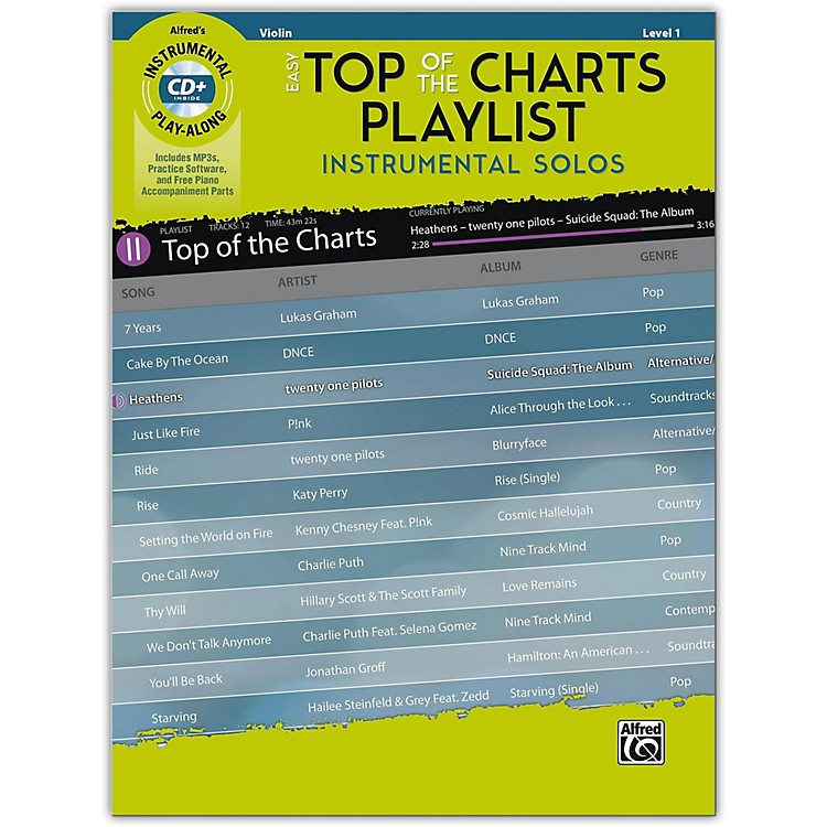 AlfredEasy Top of the Charts Playlist Instrumental Solos for Strings Violin Book & CD Level 1