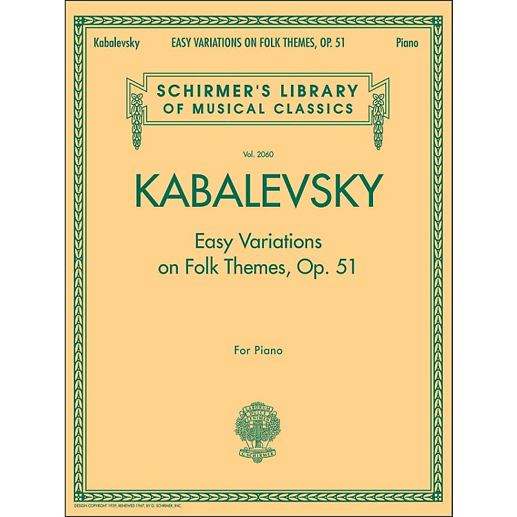 G. SchirmerEasy Variations On Folk Themes Op 51 Piano By Kabalevsky