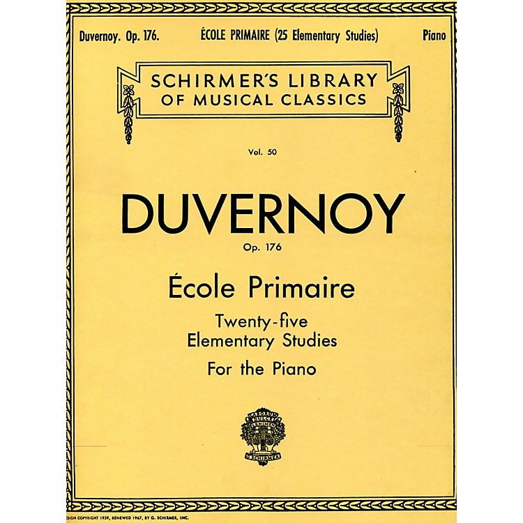 G. SchirmerEcole Primaire Op 176 Piano Twenty Five Elementary Studies By Duvernoy