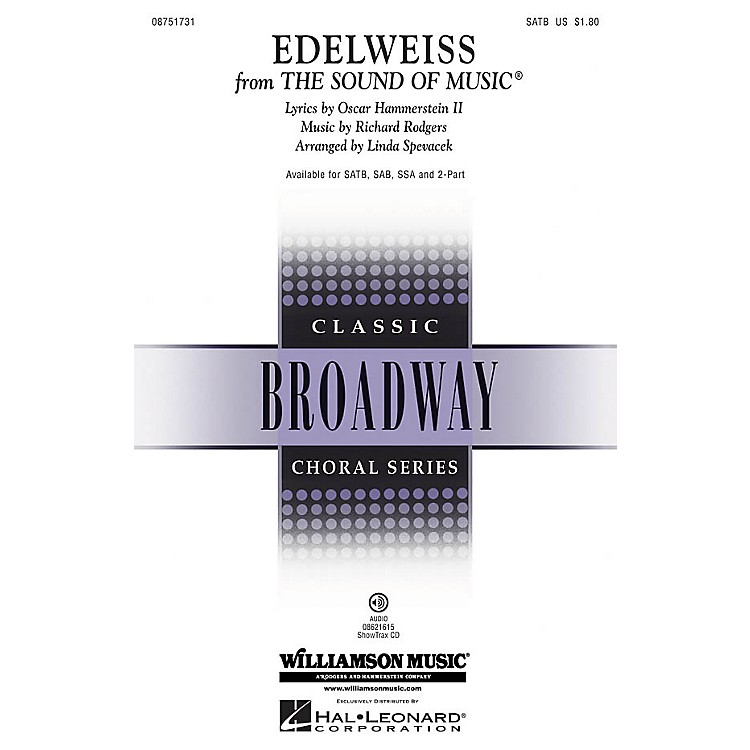 Hal LeonardEdelweiss (from The Sound of Music) ShowTrax CD Arranged by Linda Spevacek