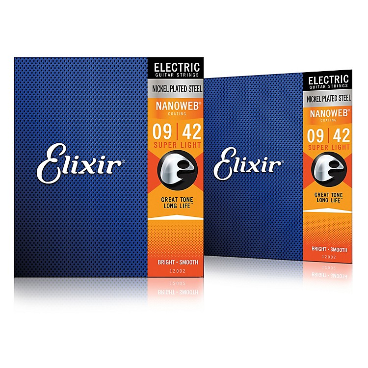 Elixir Electric Guitar Strings with NANOWEB Coating, Super Light (.009-.042) 2-Pack