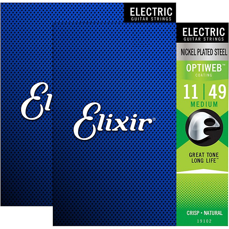 Elixir Electric Guitar Strings with OPTIWEB Coating, Medium (.011-.049) - 2 Pack