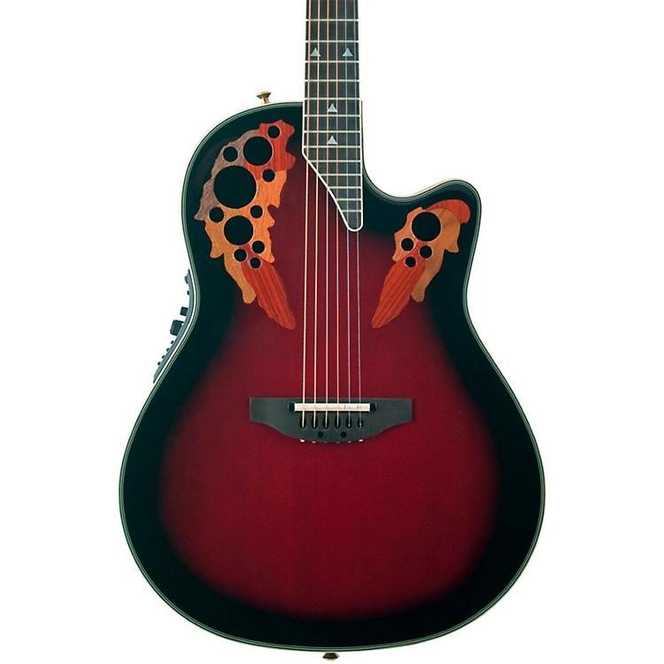 OvationElite 2078 AX Deep Contour Acoustic-Electric GuitarBlack Cherry Burst