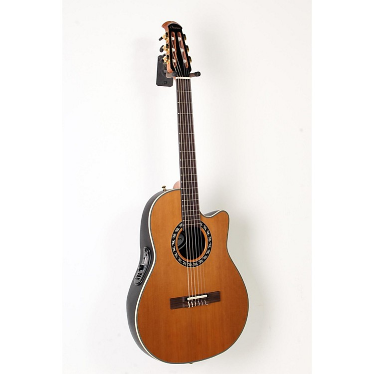 Ovation Elite AX Mid-Depth Cutaway Acoustic-Electric Nylon String Guitar Natural 888365915982