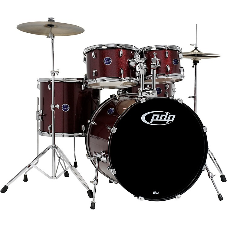 PDP by DWEncore 5-Piece Drum Kit with Hardware and CymbalsRuby Red
