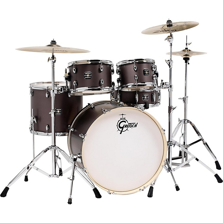 gretsch drums energy 5 piece drum set brushed grey with hardware and zildjian cymbals music123. Black Bedroom Furniture Sets. Home Design Ideas