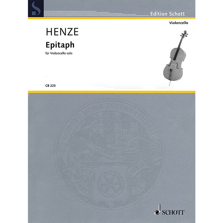 SchottEpitaph (Solo Cello) Schott Series Softcover Composed by Hans Werner Henze