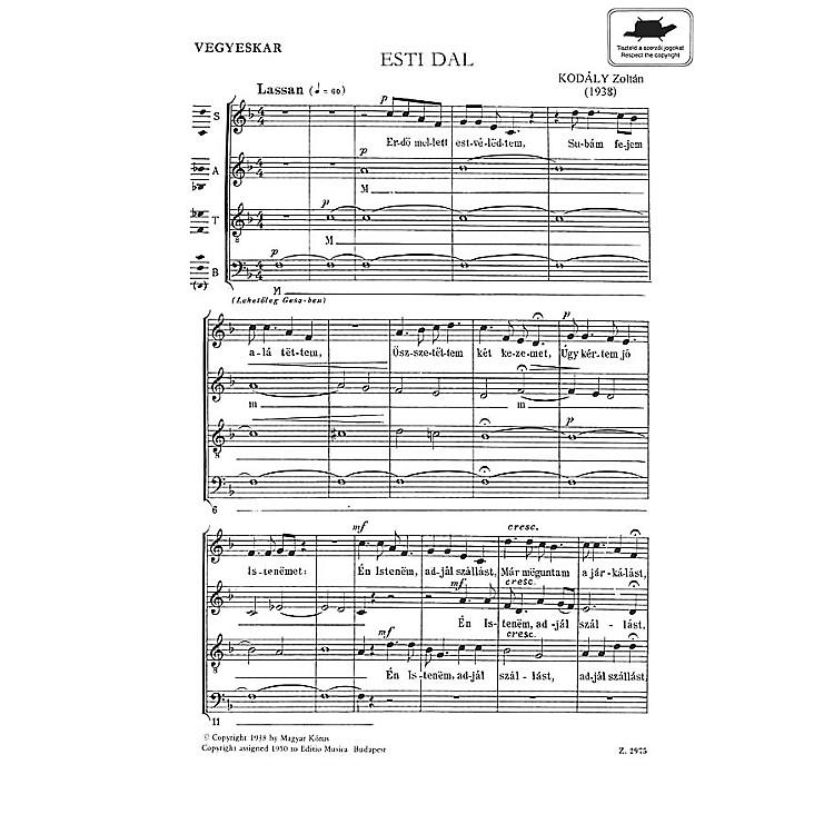 Editio Musica BudapestEvening Song Satb Esti Dal (SATB Hungarian Text) Composed by Zoltán Kodály