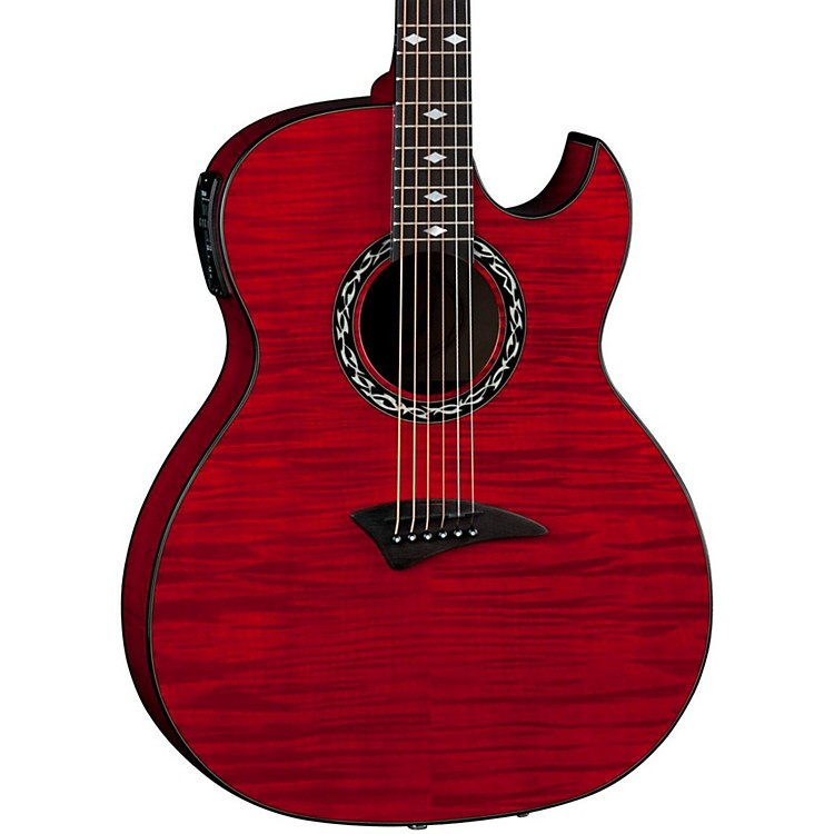 DeanExhibition Flame Maple Acoustic-Electric Guitar with AphexTransparent Red