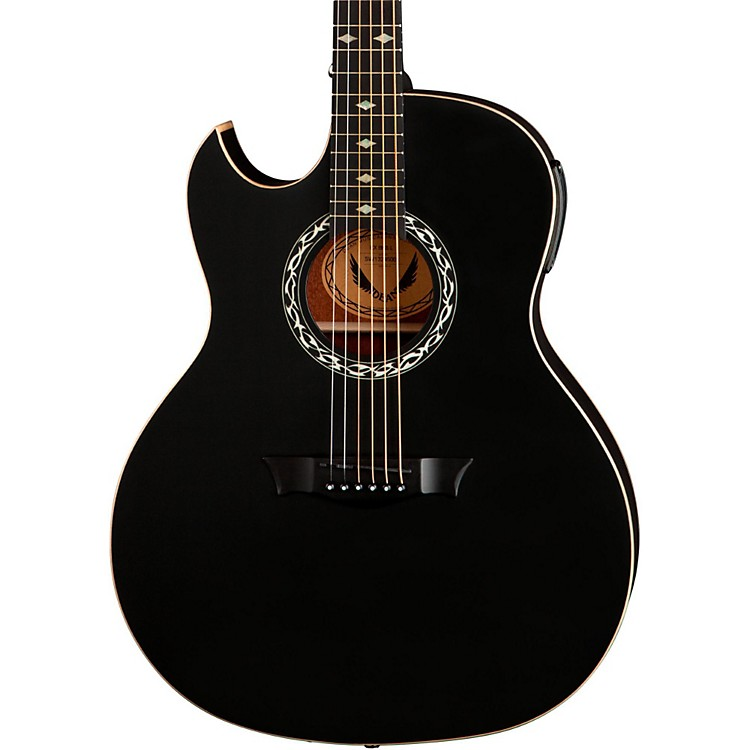 Dean Exhibition Left-Handed Acoustic-Electric Guitar Satin Black