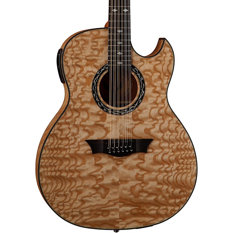 Dean Exhibition Quilt Ash 12-String Acoustic-Electric Guitar with Aphex Gloss Natural