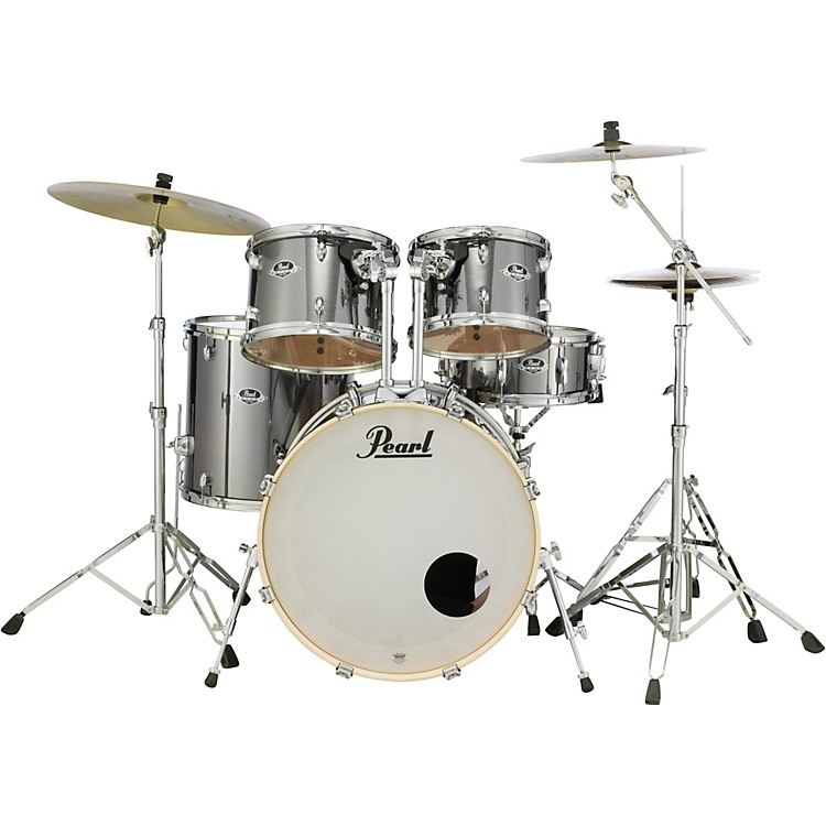 Pearl Export New Fusion 5-Piece Drum Set with Hardware Smokey Chrome