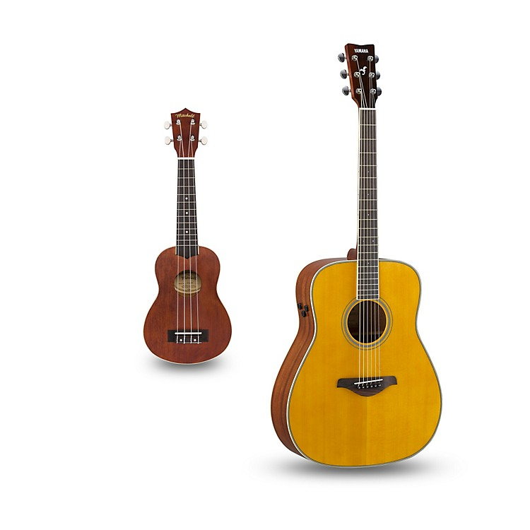 YamahaFG-TA TransAcoustic Dreadnought Acoustic-Electric Guitar and Ukulele PackageVintage Tint