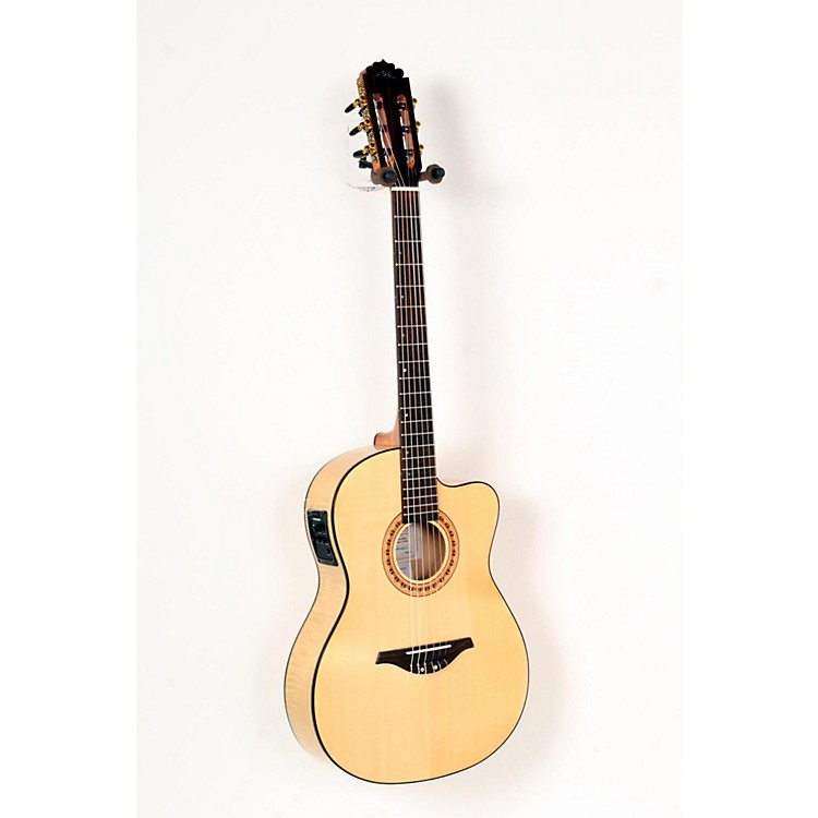 Manuel Rodriguez FLMOD550 Flamenco Moderna Acoustic-Electric Nylon String Natural, Flame Maple B and S, Solid Spruce Top 888365703541