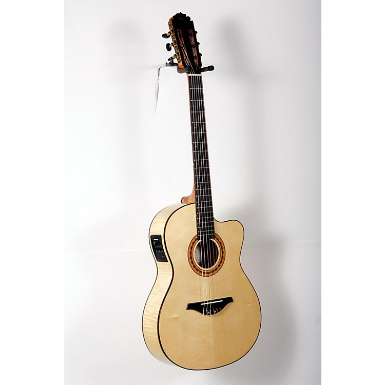 Manuel Rodriguez FLMOD550 Flamenco Moderna Acoustic-Electric Nylon String Natural, Flame Maple B and S, Solid Spruce Top 888365906256