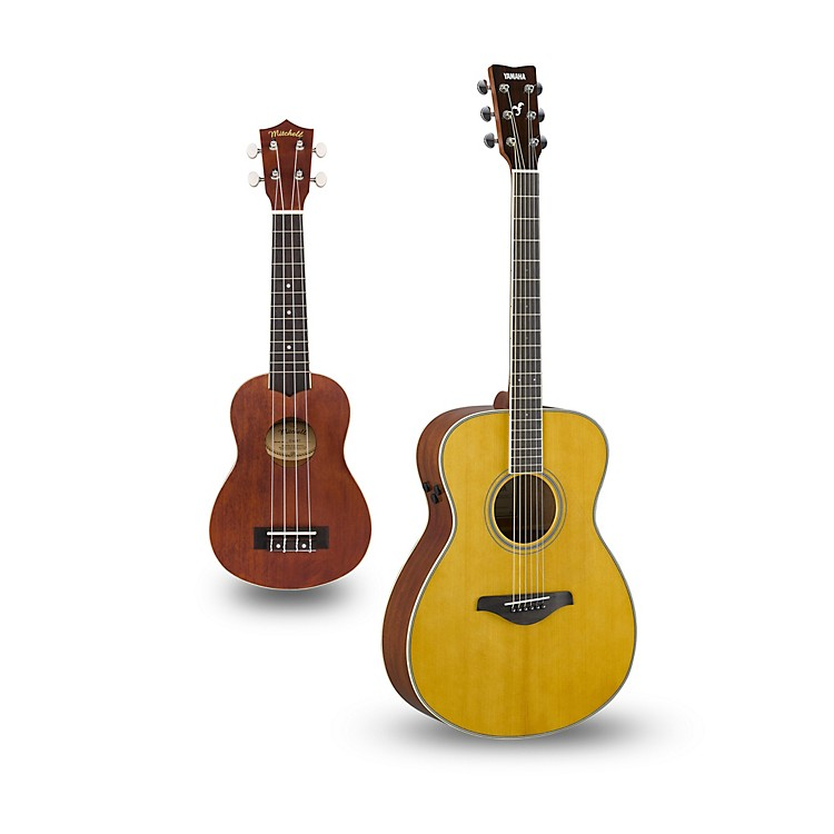 Yamaha FS-TA TransAcoustic Concert Acoustic-Electric Guitar and Ukulele Package Vintage Tint