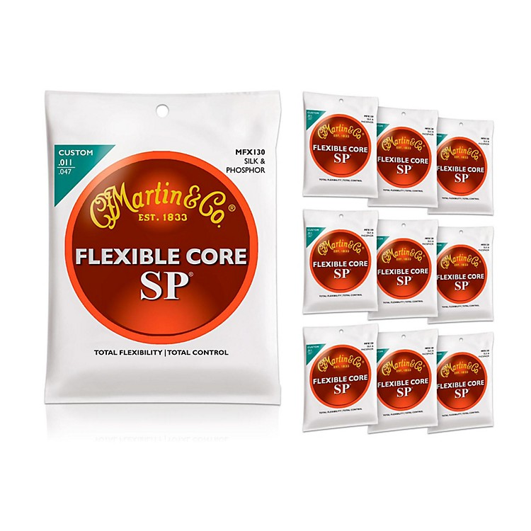 Martin FX130 Silk and Phosphor Acoustic Guitar Strings 10-Pack