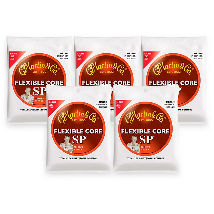 Martin FX740 SP Flexible Core Phosphor Bronze Light Acoustic Guitar Strings 5-Pack