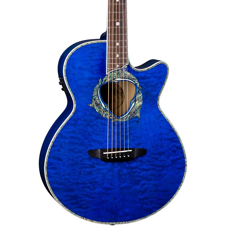 Luna Guitars Fauna Dolphin Acoustic-Electric Guitar Transparent Azure