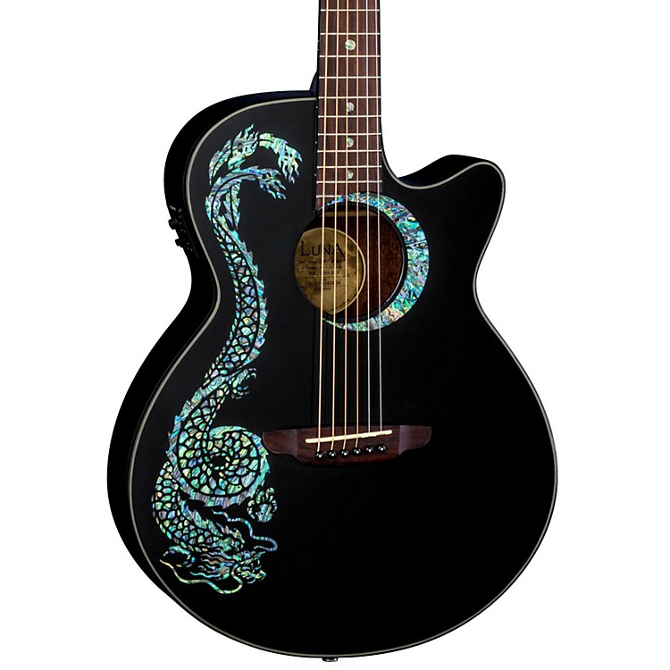 Luna Guitars Fauna Dragon Acoustic-Electric Guitar Classic Black