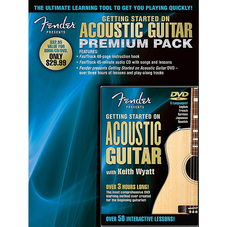 Hal LeonardFender Presents Getting Started On Acoustic Guitar Premium Pack Book/CD/DVD