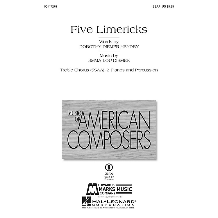 Edward B. Marks Music CompanyFive Limericks Score & Parts Composed by Emma Lou Diemer